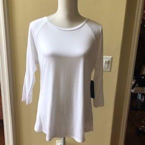 Tahari 3/4 Sleeve Basic White Top
